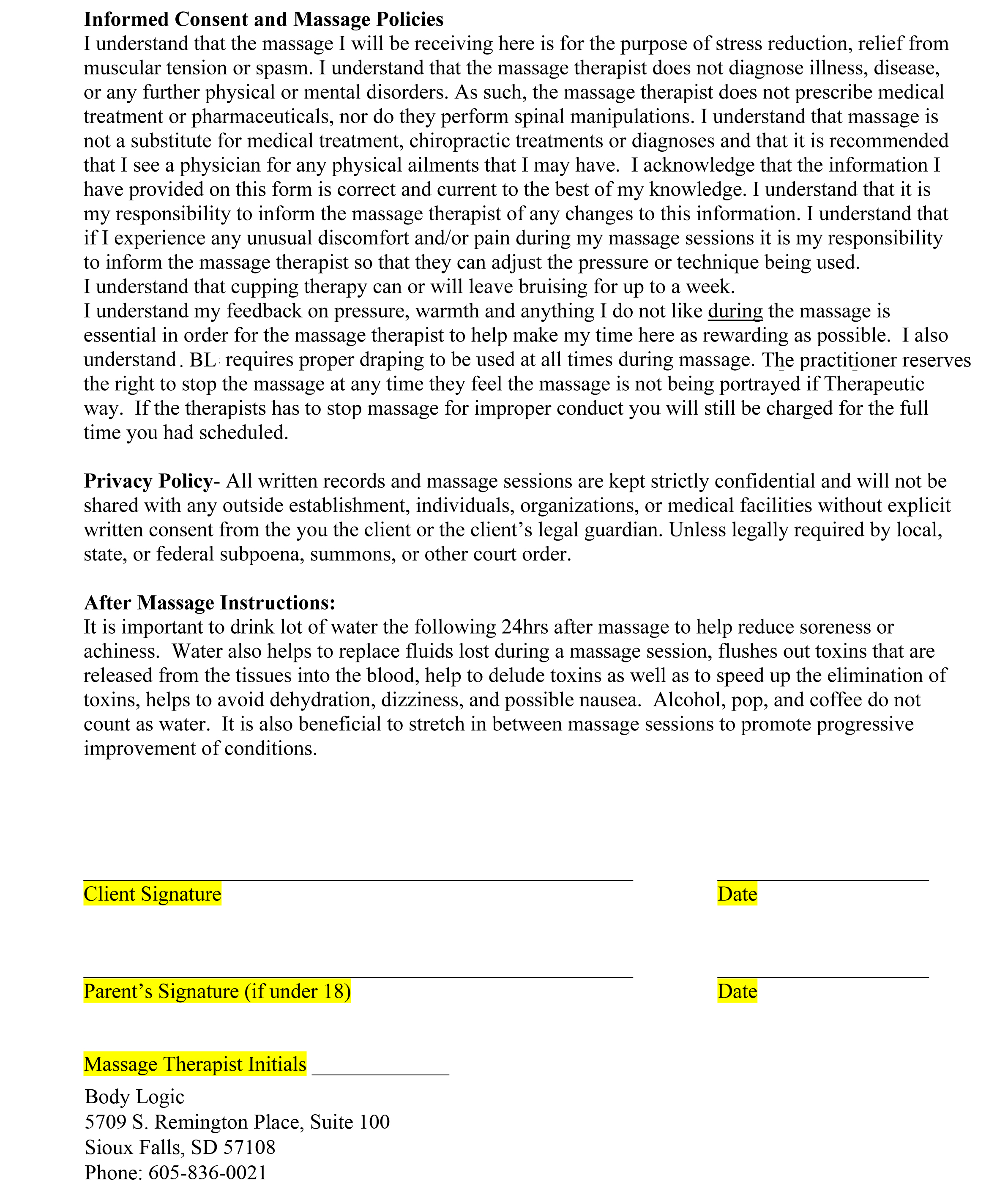 Client Info – Massage Intake Form